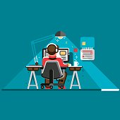 Office worker at his desk, back view. Cool vector flat design illustration with man working on desktop computer.