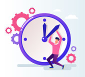 Office worker businessman man character push time back. Time organization concept. Vector flat cartoon graphic design