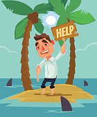 Office worker man character lost on desert island between shark. Vector flat cartoon illustration