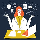 Office worker relaxes and meditates in the lotus position. Business woman meditating. Vector cute handdrawn creative illustration. Cute beautiful young secretary at work.