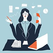 Woman financial accountant. Secretary vector illustration. Young businesswoman multi-tasking. Creative modern vector illustration.