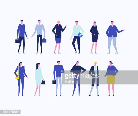 Office workers - flat design style set of isolated characters : arte vettoriale