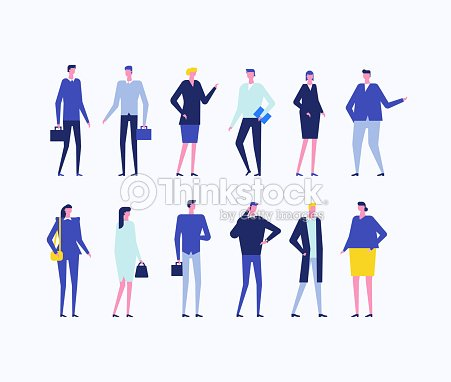 Office workers - flat design style set of isolated characters : stock vector