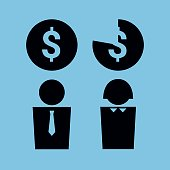 Vector simplified illustration symbolizing gender pay gap. Man and woman icons with a money symbol over them. Square format. Black on a solid blue background.