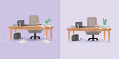 illustration of office working place and mess around before and after cleaning. Vector illustration. Isolated objects.