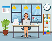 Office workplace with table, bookcase, window. Business woman or a clerk working at her office desk. Vector illustration in flat style
