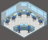 control center room and working engineers, vector illustration