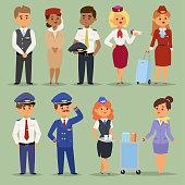 Officers flight pilots flight attendants vector people. Stewardesses and pilots flight attendants isolated pilot and air hostess flight attendant. Flight attendants captain professional male and femai