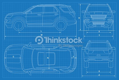 Offroad car schematic or suv car blueprint vector illustration off off road car schematic or suv car blueprint vector illustration off road vehicle in outline business vehicle template vector view front rear side top malvernweather Gallery