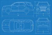 Off-road car schematic or suv car blueprint. Vector illustration. Off-road car in outline. Business vehicle template vector. View front, rear, side, top.
