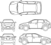 Offroad suv auto outline vector vehicle. Car model suv, illustration of suv automobile blueprint scheme