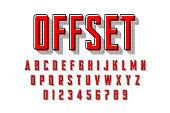 Offset print style modern font, vector illustration