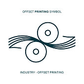 Offset printing symbol for graphic industry.