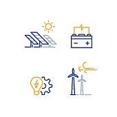Solar panels and wind farm energy concept, offshore wind turbines, green electricity, accumulator and light bulb vector line icon