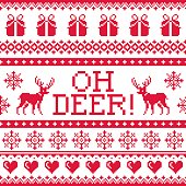 Xmas repetitive decoration with deer, snowflakes and hearts and presents