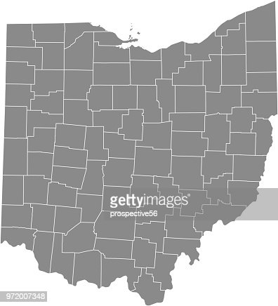 Outline Map Of Ohio.Ohio County Map Vector Outline Gray Background Map Of Ohio State Of