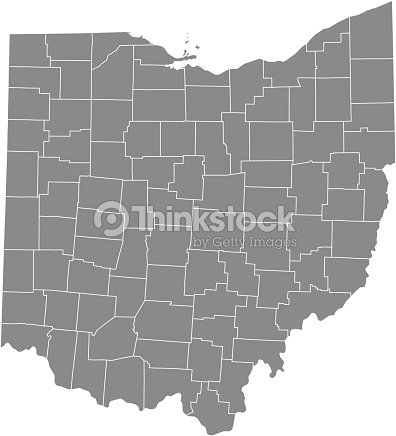 Ohio County Map Vector Outline Gray Background Map Of Ohio State Of