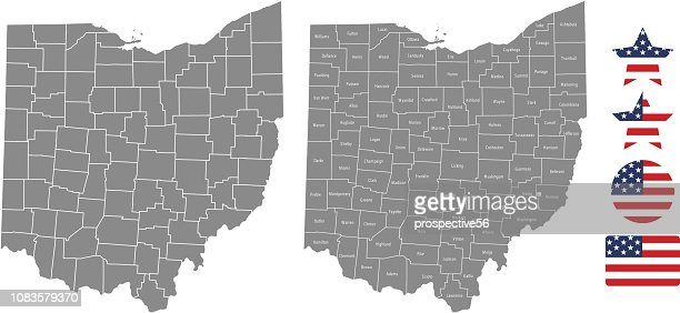 United States Map With County Names.Ohio County Map Vector Outline In Gray Background Ohio State Of Usa