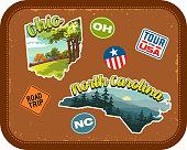 Ohio, North Carolina travel stickers with scenic attractions and retro text. State outline shapes. State abbreviations and tour USA stickers. Vintage suitcase background