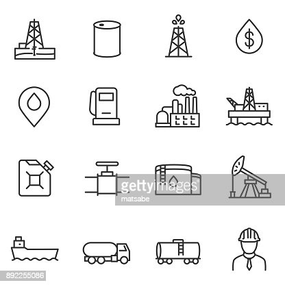 Oil and petroleum industry icons set. Line with editable stroke : Arte vettoriale