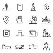 Oil and petroleum industry linear icons set.