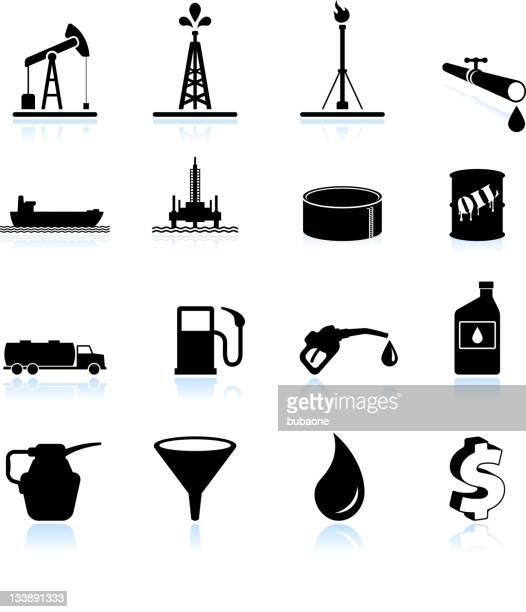 Oil industry black and white royalty free vector icon set