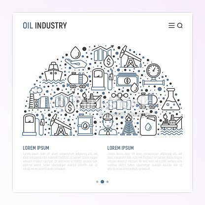 oil industry concept in half circle with thin line icons gas