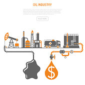 Oil industry Concept with Two Color Flat Icons extraction production refinery and transportation oil and petrol. isolated vector illustration