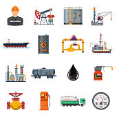 Oil industry extraction production and transportation oil and petrol Flat Icons Set with oilman, rig and barrels. Isolated vector illustration.