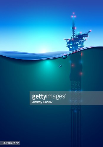 Oil offshore Drilling Platform in the ocean at dawn. Beautiful background for oil industry. Oil rig in the light of lanterns and spotlights. Split view over and under water surface. Classic spar. : stock vector