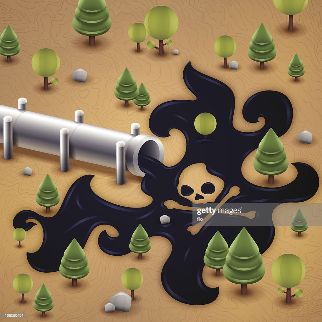 Oil Pipeline Spill Pollution : Vector Art