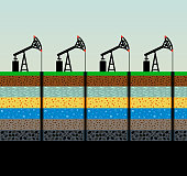 Oil pumps and rig on sky background. Process of oil extraction. SImple vector scheme. Layers of the earth