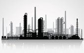 Oil refinery or chemical plant silhouette. Vector illustration.