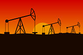 Oilfield in desert. Pumpjacks in a row. Vector illustration.