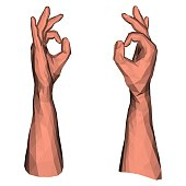 Ok symbol expressing by abstract geometric low poly hand signal