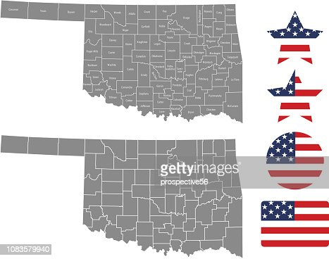 United States Map With County Names.Oklahoma County Map Vector Outline In Gray Background Oklahoma State