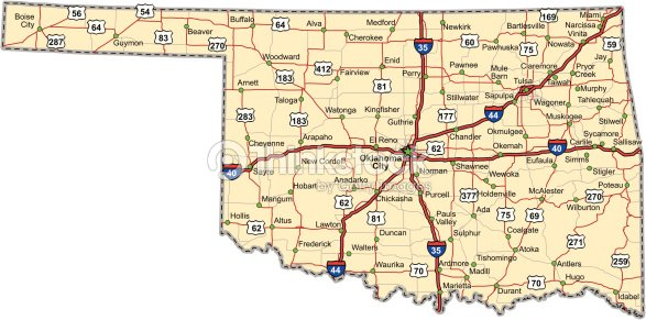 Oklahoma Highway Map Vector Art Thinkstock - Oklahoma highways map