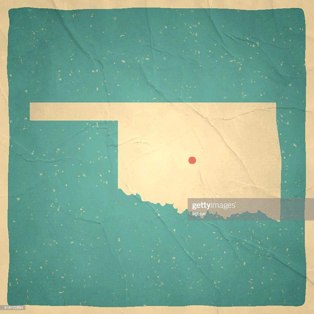 Oklahoma Map On Old Paper Vintage Texture Vector Art Getty Images