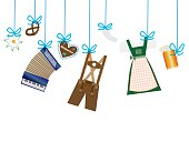 oktoberfest background, lederhosen, dirndl, edelweiss, accordion, beer and gingerbread heart icons hanging on blue leash