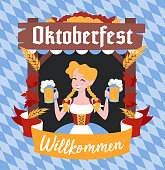 Oktoberfest banner with funny cartoon character in a wreath of barley and hops. A girl in Bavarian costume with glasses of beer and pretzel