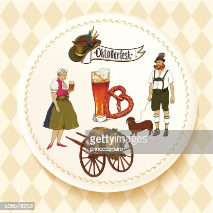Oktoberfest Beer Set on a white plate : Vector Art