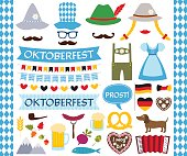 Oktoberfest vector design elements and photo booth props