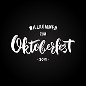 Oktoberfest greeting banner with lettering on black background. Beer Festival Design template. Vector illustration.