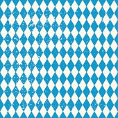 Oktoberfest seamless pattern with blue and white rhombus, flag of Bavaria, vector old diamonds background with cracks and dust