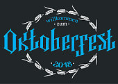 Oktoberfest logotype. Beer Festival vector banner. Illustration of Bavarian festival design on textured background. Blue, white lettering typography for logo, poster, card, postcard