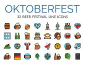 Set of German Beer Festival icons in line art style, Oktoberfest vector illustration