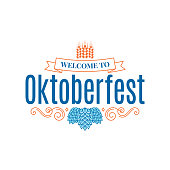 Oktoberfest vintage lettering with hops and wheat on white background 8 eps