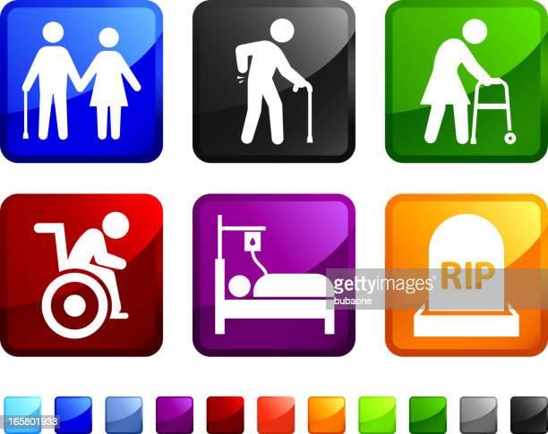 La edad avanzada y la muerte sin royalties de vector icon set pegatinas