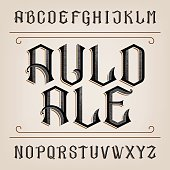 Old alphabet vector font. Distressed hand drawn letters. Vintage vector alphabet for labels, headlines, posters etc.