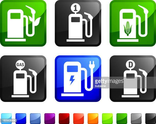 Old and New Gas Pump vector icon set stickers